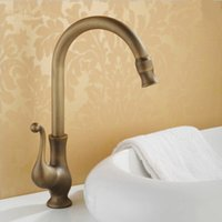 Wholesale Tall Sink Faucets - Antique Copper Bathroom Sink Faucet Centerset Single Handle One Hole Tall High Arc Faucet Lavatory Faucet Plumbing Fixtures