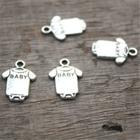 Wholesale Wholesale Silver Baby Charms - 40pcs--Baby clothes Charms, Antique Tibetan silver Baby romper charm pendants 17x12mm