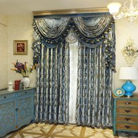 Curtain &Draperies blue blackout curtains - High end European work jacquard knit Window Blackout Curtain for Living Room Bedroom hotel villa blue fabric price free ship