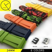 Wholesale Colorful Silicone Watches For Men - Camouflage 24mm Soft Silicone Rubber Watchband Durable Stainless Steel Pin Buckle for Panerai Men Watch Bracelet Colorful Man Tools
