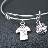 silver soccer bracelets großhandel-12pcs Fußball-Charme-Armband-Fußball-Charme-Armband-Damen-Fußball-Weltcup-Silberton