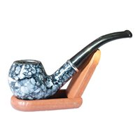 Wholesale Resin Pipes - Wholesale Cheap Good Quality Resin Smoking Pipe Metal Bowl 702 Blue Marble Style Portable Cigarette Cigar Wooden Tobacco Herb Pipes