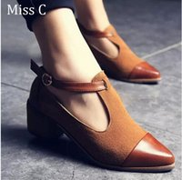 Wholesale Women Brown Oxford Heels - 2016 Vintage Oxford Shoes Women Pointed Toe Cut Out Med Heel Patchwork Buckle Ladies Shoes Flats free shipping
