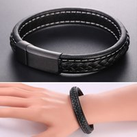 Wholesale Leather Indian Bracelets For Men - U7 Jewelry New Genuine Leather Bracelet for Men Fashion Genuine Leather Jewelry Perfect Gift Punk Accessories Black Brown GH2496