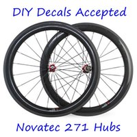 Wholesale Diy Full Bike - Carbon Wheels 60mm Depth 23mm Width 700C Full Carbon Bike Wheels 3K Matt Clincher Tubular Novatec 271 372 Hubs DIY Brand Decals Accepte