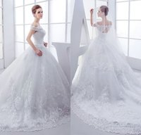 Wholesale Bridal Dresses Handwork - Best Handwork Cap Sleeve Ball Gown Gorgeous Wedding Dresses 2017 Chapel Train White Tulle Appliques Lace Wedding Gowns Bridal Dress
