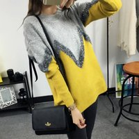 Wholesale Turtleneck Korea Women - Wholesale-Fashion new Autumn winter Korea Contrast color geometric turtleneck knitwear coat Loose women big size Yellow pullover sweater