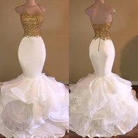 Wholesale Spaghetti Straps Organza - Sexy Mermaid White and Gold Prom Dresses 2017 Spaghetti Strap Appliques Lace Ruffles Organza Backless Long African Prom Dress for Gradustion