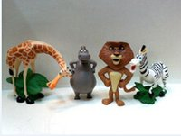 Madagascar Toys Collection Figurines en PVC Modèle Poupées Animal Zoo Lion Zebra Giraffe Anime Brinquedos Cake Toppers Kids Gift 4pcs / set
