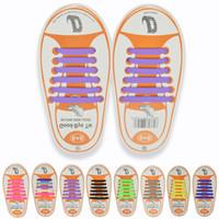 cordones de los zapatos libres al por mayor-12 unids / set Niños Sin Corbata Caucho Elástico Cordón para los zapatos 13colores elegir niños Zapatillas Zapatillas de deporte Corriendo Atléticos cordones