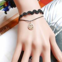 Wholesale Triangle Shaped Beads - Black Wave Shape Lace Bracelet With Emoji Star Triangle Metal Beads Charm Bracelet Adjustable Extended Chain Bracelets For Women