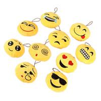 Wholesale Key Holder Bag For Men - 10Pcs Fashion Emoji Emoticon Smiley Face Soft Toy Keychain Bag Holder Pendant Key Chain Keyring For Women Men 10 Kinds