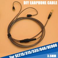 Wholesale Earphone Repair - 130cm DIY Replacement 3.5mm Audio Plug Cable Repair Headset Headphone Earphone For Shure SE215 315 535 846 UE900 Free Shipping