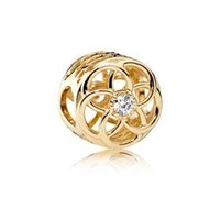 Wholesale Authentic Sterling Silver Bead Charm Gold Hollow Love Heart With Crystal Flower Beads Fit Pandora Bracelet Jewelry