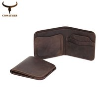 Wholesale Cow Crafts - Wholesale- COWATHER 2017 Vintage cross style cow genuine leather wallets for men top high quality new craft handmade popular free shipping