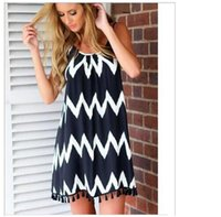 Wholesale Street Style Dresses Women s Clothing Summer Plus size dressess black and white wave striped beach skirt tassel harness sexy chiffon dress