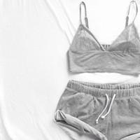 Wholesale Girl S Pajamas - Wholesale- 2Pcs NEW Women Ladies Girls Tanks+Shorts pants Cotton Pajamas Set Women Solid Summer Sleepwear Nightwear Sets
