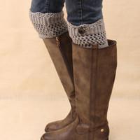 Wholesale Hand Knitting Socks - Wholesale- Crochet Boots Cuffs Knit leg warmers knee high sock lace hand knitted womens boots socks
