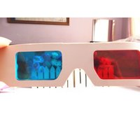 Venda por atacado - 2pcs 3D Glasses Paper Virtual Video View Anaglyph Red Cyan Glasses for 3D Movies