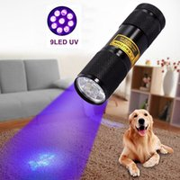 Wholesale High Power Uv Torch - Mini UV Ultra Violet Purple Flashlight Blacklight Invisible Ink Marker 9 LED 395-400nm Mini Torch Light 3xAAA Batteries Powered