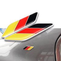 bayrak arabası amblemleri toptan satış-2X Evrensel Oto Araba Kapı Fender Bölüm 3D Almanya DE Deutschland Ulus Bayrak Amblem Badge Sticker Çıkartma Trim
