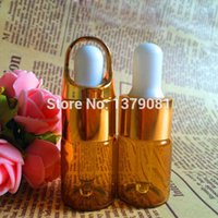 5ML Amber Mini Glass Bottle, 5CC Brown Cuentagotas Botellas Withe Gold, Silver Rim Sample Vials Essential Oil Bottle Envío gratis