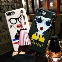 Wholesale Goddess Fashion Style - Fashion Variety Style Modern Girl Sunglasses Goddess Rivet Tassels Cool Phone Back Case Cover TPU Silicone Skin Shell For Iphone 7 6 6S Plus
