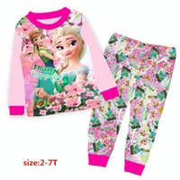 Wholesale Wholesale Minion T Shirts - 2017 baby minions frozen clothes wholesale two piece cartoon suit boys girls long sleeve t-shirts pants clothing sets size 2-7Y 9246