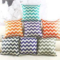 Wholesale Chevron Linen - Chevron Cushion Case Chevron Wave Printed Cushion Cases Fashion Mediterranean Style Pillow Covers Home Textiles Decor Pillow Case