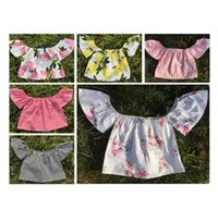 Wholesale Wholesale Ruffled Shirts Toddler - 2017 summer baby flutter sleeve top girls tank tops toddler floral vest tshirt infant flower print clothes ins cotton ruffle shirt wholesale