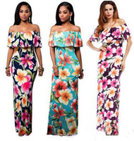 Wholesale cheap bodycon maxi dresses - 2017 Hot Cheap Summer Maxi Floral Printed Dresses Women Long Dresses the Shoulder Beach Dresses Sheath Bodycon Floor-Length Holiday