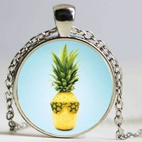 Wholesale Crystal Glass Fruits - Colorful Round Glass Necklace Art Pineapple Necklace Fruit Jewelry Glass Cabochon Necklace Pendant Women Gift Weekend Deal