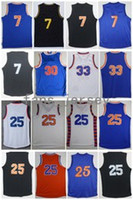 Men Basketball Retro Knickz # 7 ANTHONY # 25 ROSE # 30 KING # 33 EWING Black Orange Blue White Throwback Maglie con nome giocatore