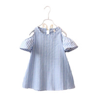 Wholesale Striped Girls Dress Blue - Striped Sweet Kids Girls Blue Color Fashion Dress Summer Baby Girls Clothing Cotton Dress Puff Short-Sleeve and Bows Girls Casual Dress