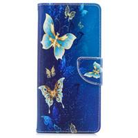 fundas amarillas para samsung al por mayor-Para Samsung Note 8 S8 Plus Funda Piel Pintada Fundas de Cuero con Tapa Tarjeta Wallet Yellow Golden Butterfly Design Bolsas de Teléfono
