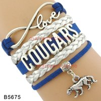 (10 Pieces / Lot) Infinity Love Cougars Bracelet Cougars Charm Bracelet Custom Sports Leather Wrap Bracelets Any Themes - Drop Shipping