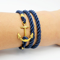 Wholesale Multilayer Bracelet Anchor - Wholesale-2016 Navy DIY wind anchor ancient bracelet tom hope gold -plated wound multilayer woven leather bracelets for women men jewelry