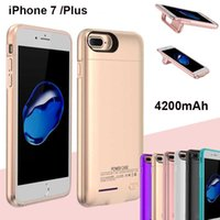 Wholesale iphone rechargeable case external - 4200mAh Power Case For iPhone 7 Plus Emergency External Rechargeable Cellphone Portable Power Charger Bank For iPhone 6S Plus dhl BAC026