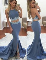 Wholesale sexy silk pieces gown for sale - New Front Split Two Pieces Prom Dresses Halter Backless Appliques Mermaid Sweep Train Sexy Evening Party Gowns Cheap Custom Made