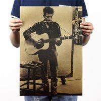 Wholesale Folk Wallpaper - Wholesale- Bob Dylan   Folk Singer   Nostalgia  Kraft Paper   Decorative 51x35.5cm  High Quality Home Decor Paper