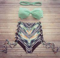 Wholesale Mixed Bikini Set - Reversible bandeau bikini set biquini swimsuit bikinis women swimwear trajes de bano Print Bathing Suit maillot de bain femme