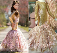 Wholesale T Shirt 13 - 2018 Gold Mermaid Girls Pageant Dresses Scoop Neck Long Sleeves Flowers Sequin Pageant Dresses For Girls Children Party Dresses