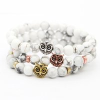 Wholesale Rose Agate Beads - New Design 1PCS Good Quality 8mm Natural White Howlite Stone Black Matte Agate Beads With Gold, Rose Gold, Silver Owl Bracelets