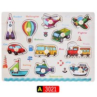 Wholesale Kid Early educational toys baby hand grasp wooden puzzle toy alphabet and digit learning education child wood jigsaw toy WD046
