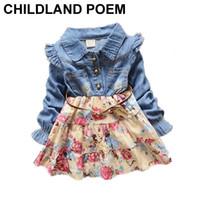 Wholesale Infant Girl Denim Dresses - Wholesale- Autumn baby girl dress floral christening Long Sleeve 1 year birthday dress infant newborn Denim Toddler Baby Dress For Girls
