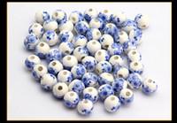 Wholesale Diy Loose Ceramic Beads - Hot Sale Blue Flower Ceramic Bead DIY Loose Beads 3mm Hole Size For European Bracelet 100pcs Lot Wholesale Drop Shipping