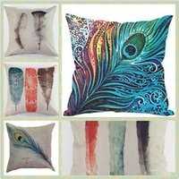 Wholesale Throw Pillows Feather Print - Sofa Decorative Pillow Case Feather Home Cotton Linen Car Sofa Square Cushion Cover Pattern Printed Decor Decorative Home Throw Pillowcase