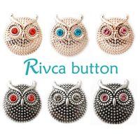 Wholesale Rhinestone Slide Bracelets - D00208 Rivca Snaps Button Jewelry Hot wholesale High quality Mix styles 18mm Metal Ginger Snap Button Charm Rhinestone Styles NOOSA chunk