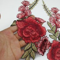 Rose Applique Peças de roupas Decalques Collar Craft Artigos decorativos DIY Red Flower Bordados Eco Friendly Popular 2 95lh C R