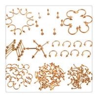 göbek delici saplamalar toptan satış-Toptan Vücut Takı Piercing Seti Topu Burun Yüzükler Mix Altın Paslanmaz Çelik Göbek Göbek Dudak Meme Kaş Kulak Çiviler Bar Yüzük Vücut Takı